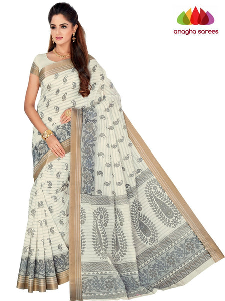 Designer Fancy Cotton Saree - White : ANA_G58