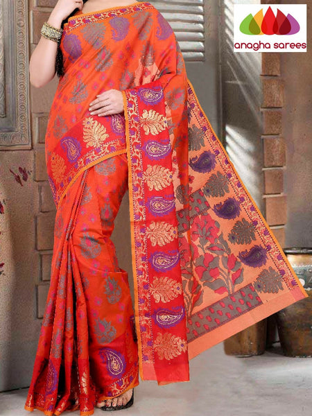 Designer Organza Silk Saree - Orange ANA_673 - Anagha Sarees