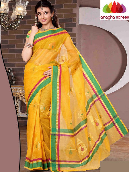 Designer Organza Silk Saree - Yellow ANA_680