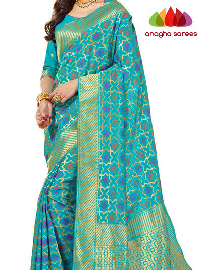 Rich Embellished Patola Silk Designer Saree - Turquoise Blue  ANA_269 - Anagha Sarees
