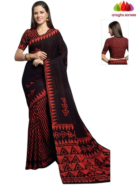 Batik Cotton Saree - Black/Red : ANA_902 - Anagha Sarees