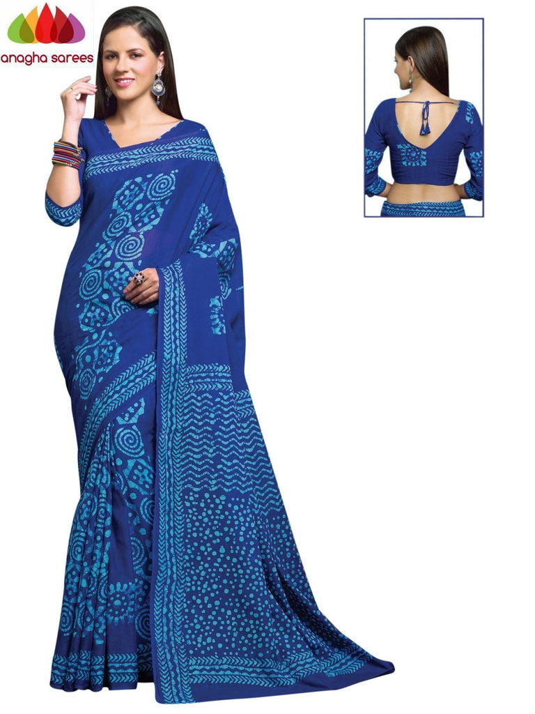 Batik Cotton Saree - Blue : ANA_906 Anagha Sarees
