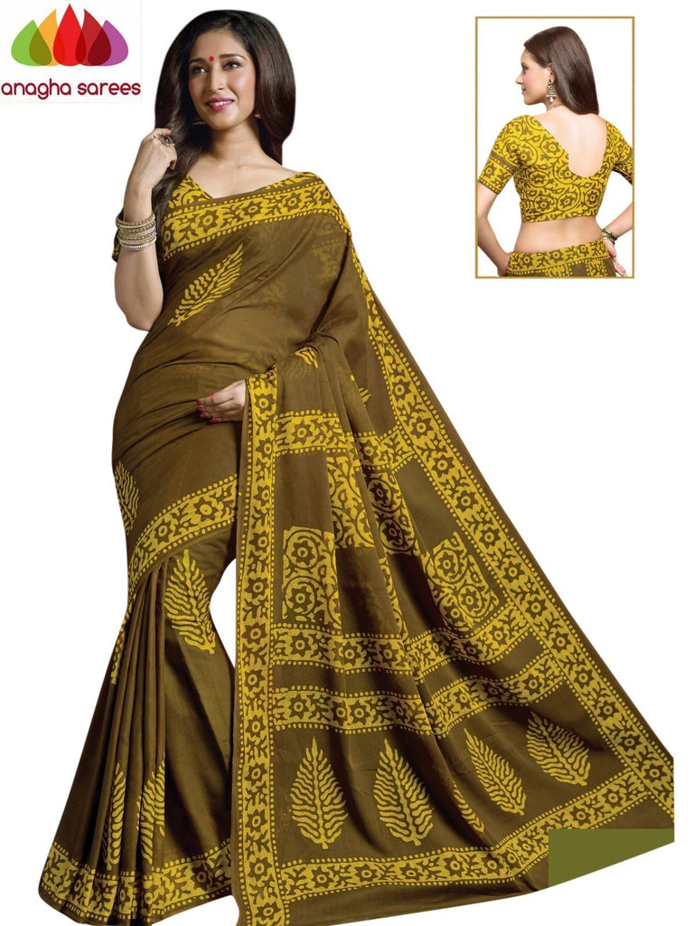 Batik Cotton Saree - Mehendi Green/Yellow : ANA_909 Anagha Sarees