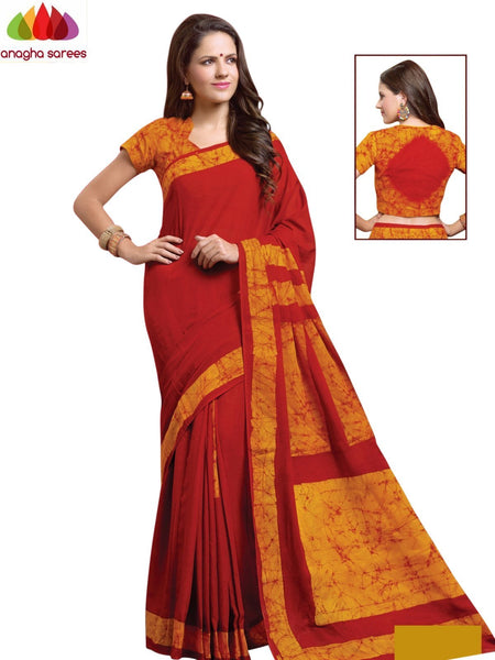 Batik Cotton Saree - Red/Mustard : ANA_910 - Anagha Sarees