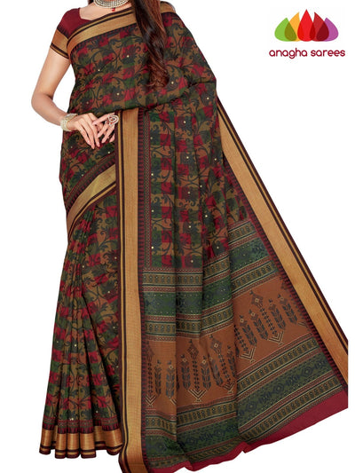Designer Fancy Cotton Saree -  Multicolor : ANA_G40 - Anagha Sarees