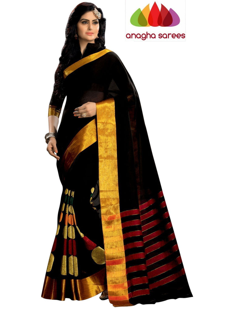 Designer Pure Cotton Embroidery Saree - Black ANA_783 Anagha Sarees