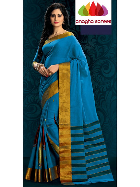 Designer Pure Cotton Embroidery Saree - Blue ANA_784