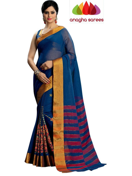Designer Pure Cotton Embroidery Saree - Dark Blue ANA_785 - Anagha Sarees