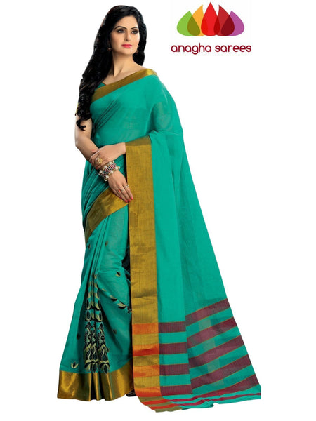 Designer Pure Cotton Embroidery Saree - Dark Sea Green ANA_792