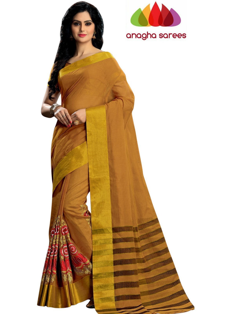 Designer Pure Cotton Embroidery Saree - Mustard ANA_786 Anagha Sarees