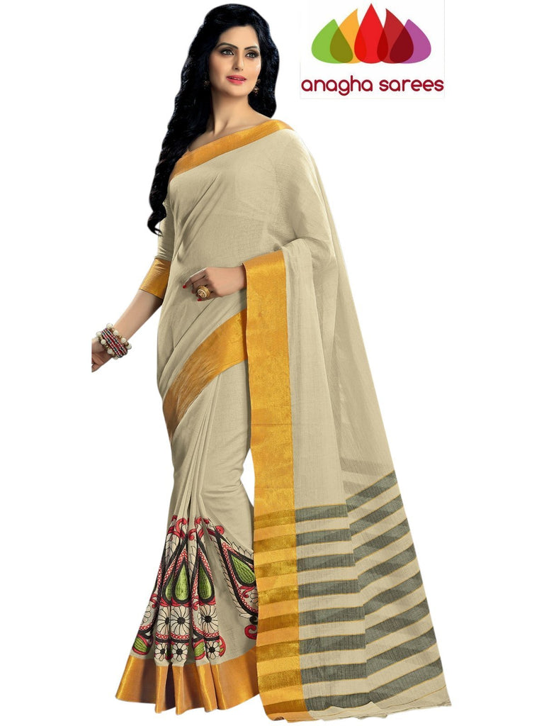 Designer Pure Cotton Embroidery Saree - Off-White ANA_787 Anagha Sarees