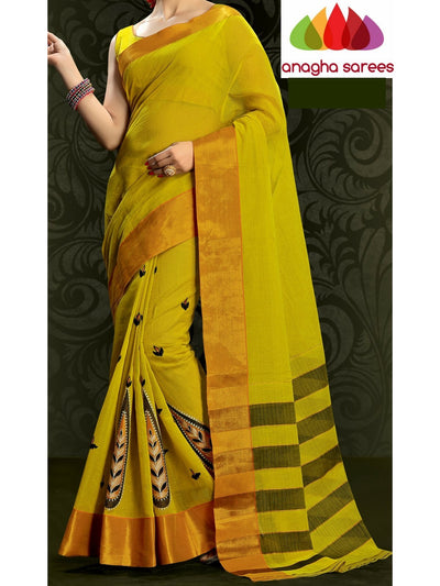 Designer Pure Cotton Embroidery Saree - Olive Green ANA_788 - Anagha Sarees
