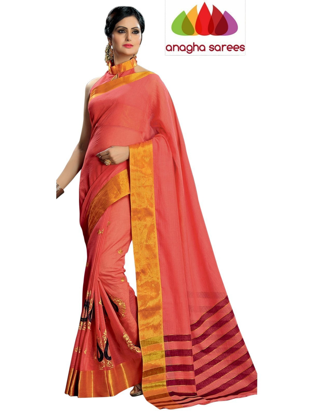 Designer Pure Cotton Embroidery Saree - Peach ANA_789 - Anagha Sarees