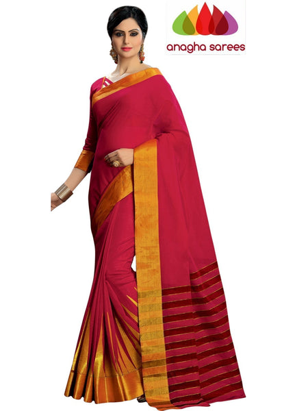 Designer Pure Cotton Embroidery Saree - Red ANA_791