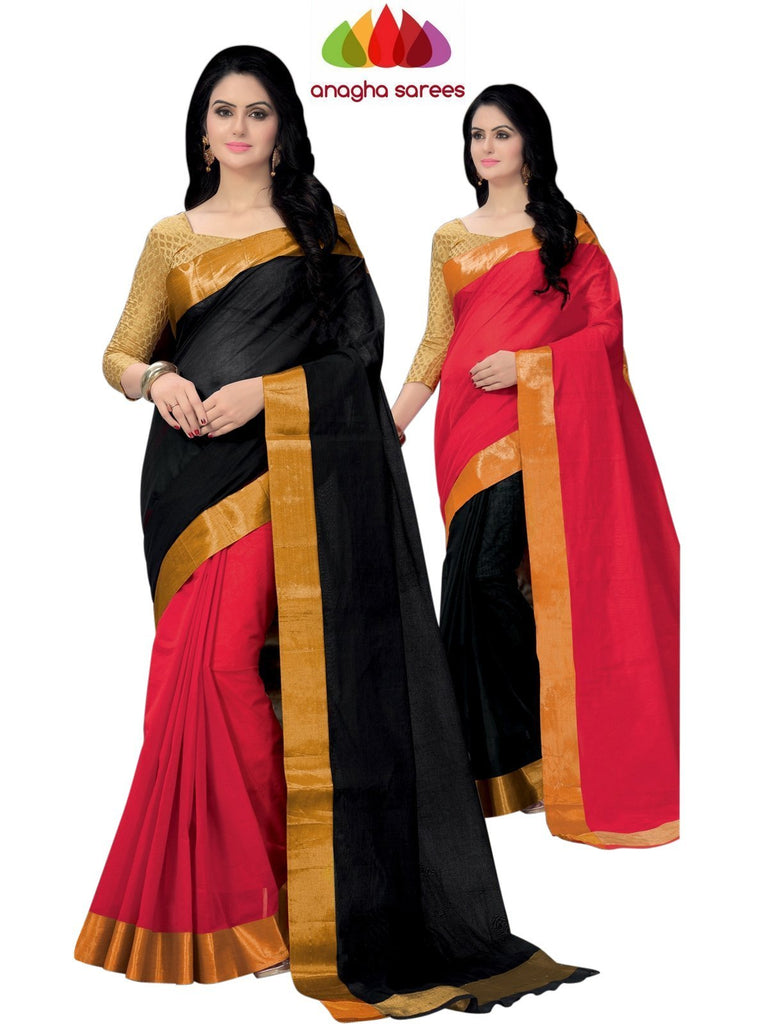 Designer Pure Cotton Reversible Saree - Black/Red ANA_793 Anagha Sarees