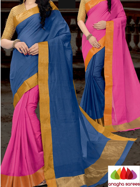 Designer Pure Cotton Reversible Saree - Blue/Pink ANA_794 - Anagha Sarees