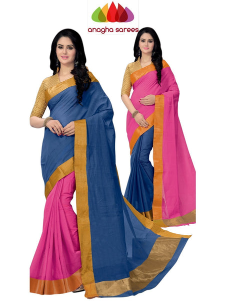 Designer Pure Cotton Reversible Saree - Blue/Pink ANA_794
