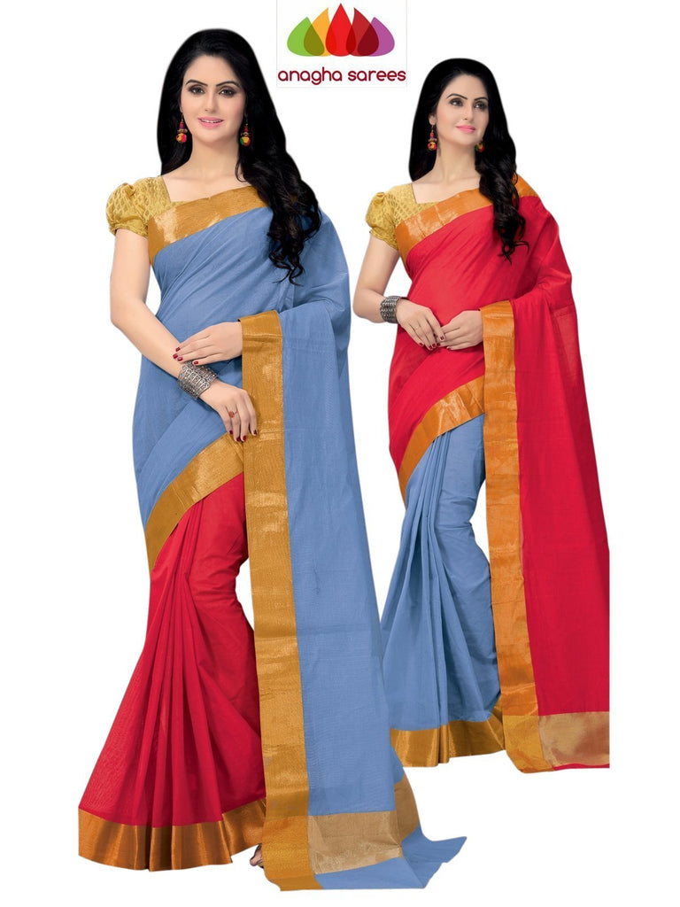 Designer Pure Cotton Reversible Saree - Blue/Red ANA_795 Anagha Sarees