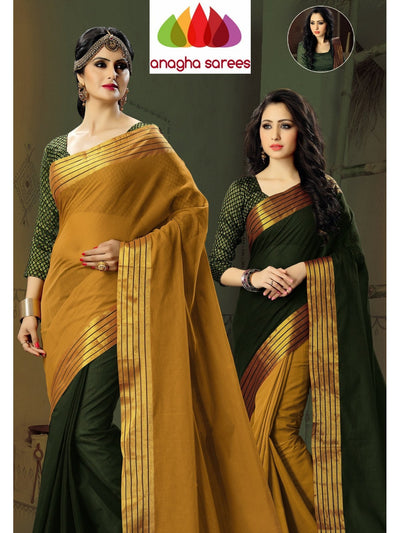 Designer Pure Cotton Reversible Saree - Bottle Green/Mustard  ANA_581 - Anagha Sarees
