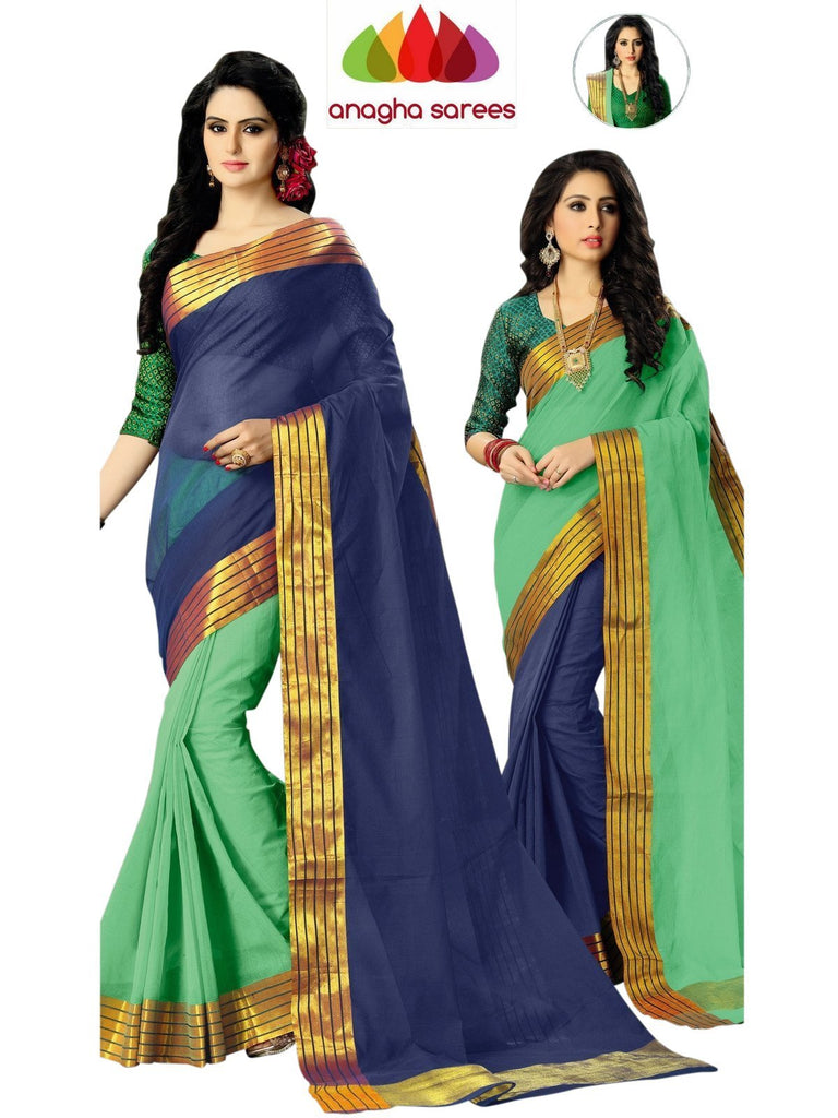 Designer Pure Cotton Reversible Saree - Dark Blue/Sea Green  ANA_584 Anagha Sarees