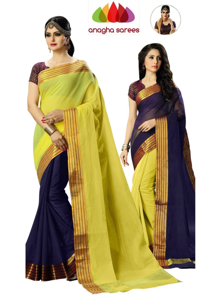Designer Pure Cotton Reversible Saree - Navy Blue/Yellow  ANA_587 Anagha Sarees