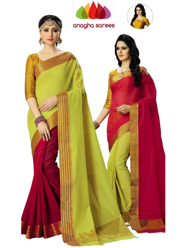 Designer Pure Cotton Reversible Saree - Red/Olive Green  ANA_589 - Anagha Sarees