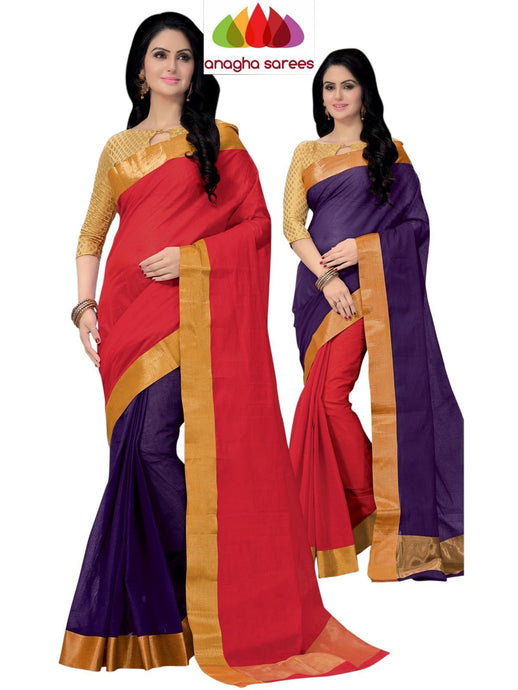 Designer Pure Cotton Reversible Saree - Violet/Red ANA_797 - Anagha Sarees