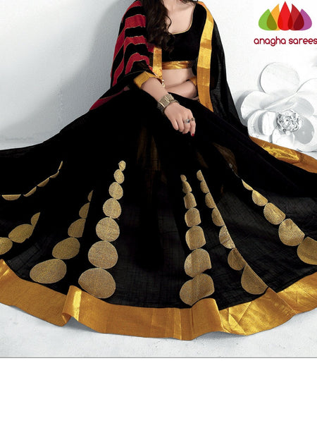 Designer Pure Cotton Saree - Black  ANA_922 - Anagha Sarees
