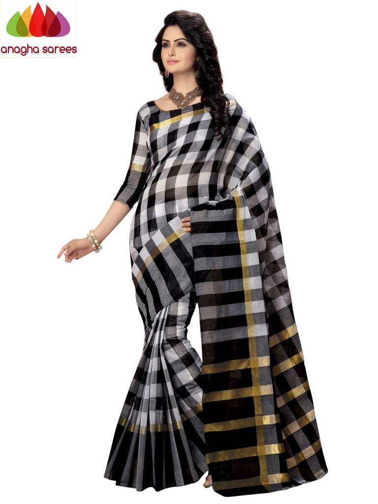 Designer Pure Cotton Saree - Black  ANA_931 Anagha Sarees