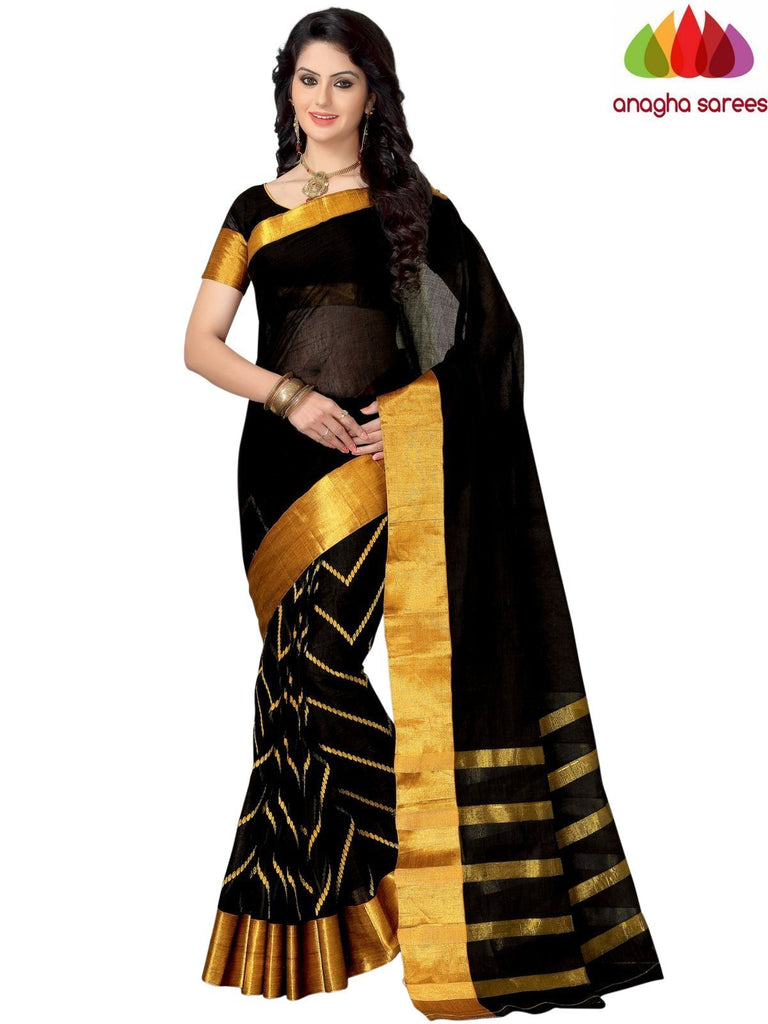 Designer Pure Cotton Saree - Black  ANA_945 Anagha Sarees