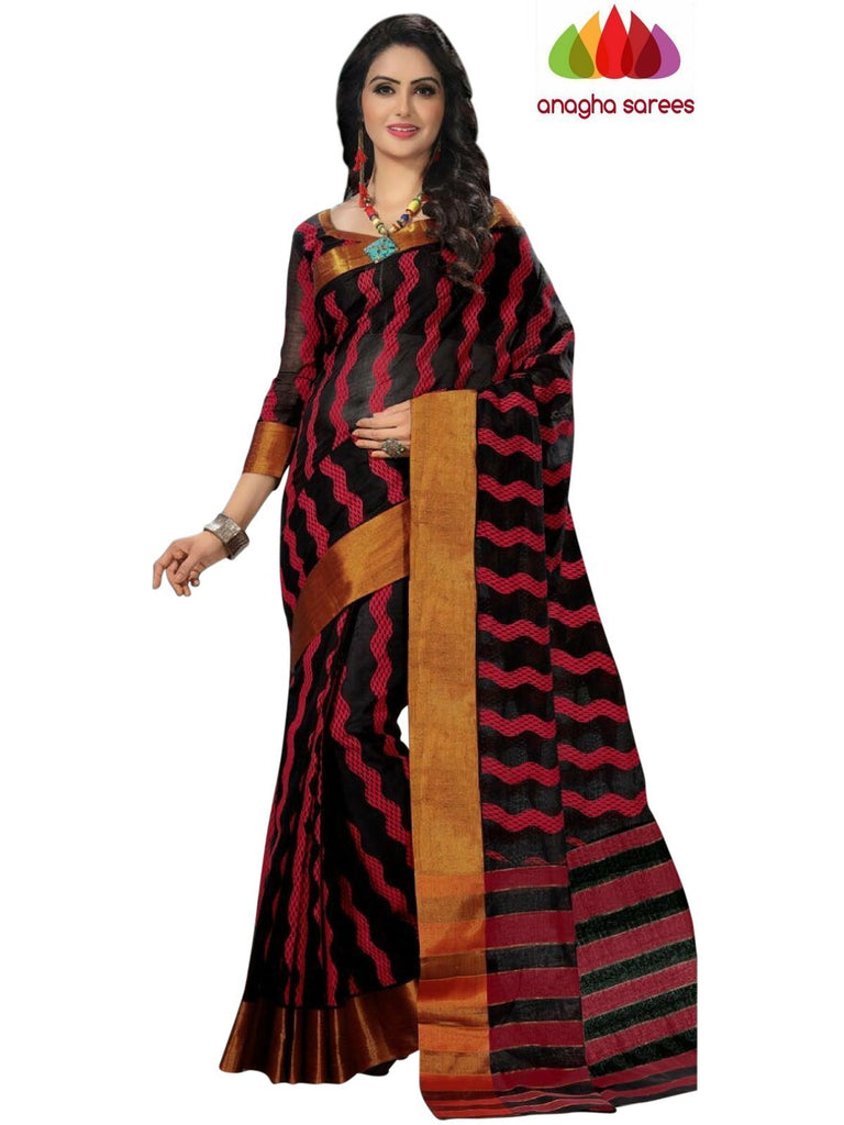 Designer Pure Cotton Saree - Black  ANA_969 Anagha Sarees