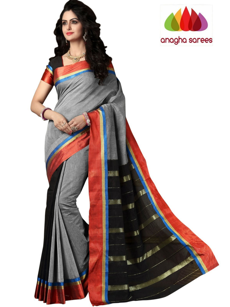 Designer Pure Cotton Saree - Black/Grey  ANA_989 Anagha Sarees
