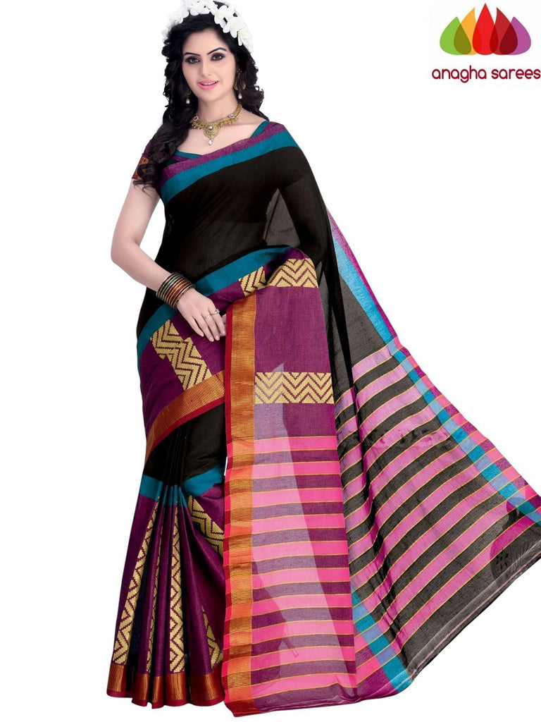 Designer Pure Cotton Saree - Black - Pink ANA_946 Anagha Sarees