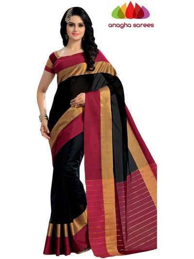 Designer Pure Cotton Saree - Black/Red  ANA_445 - Anagha Sarees