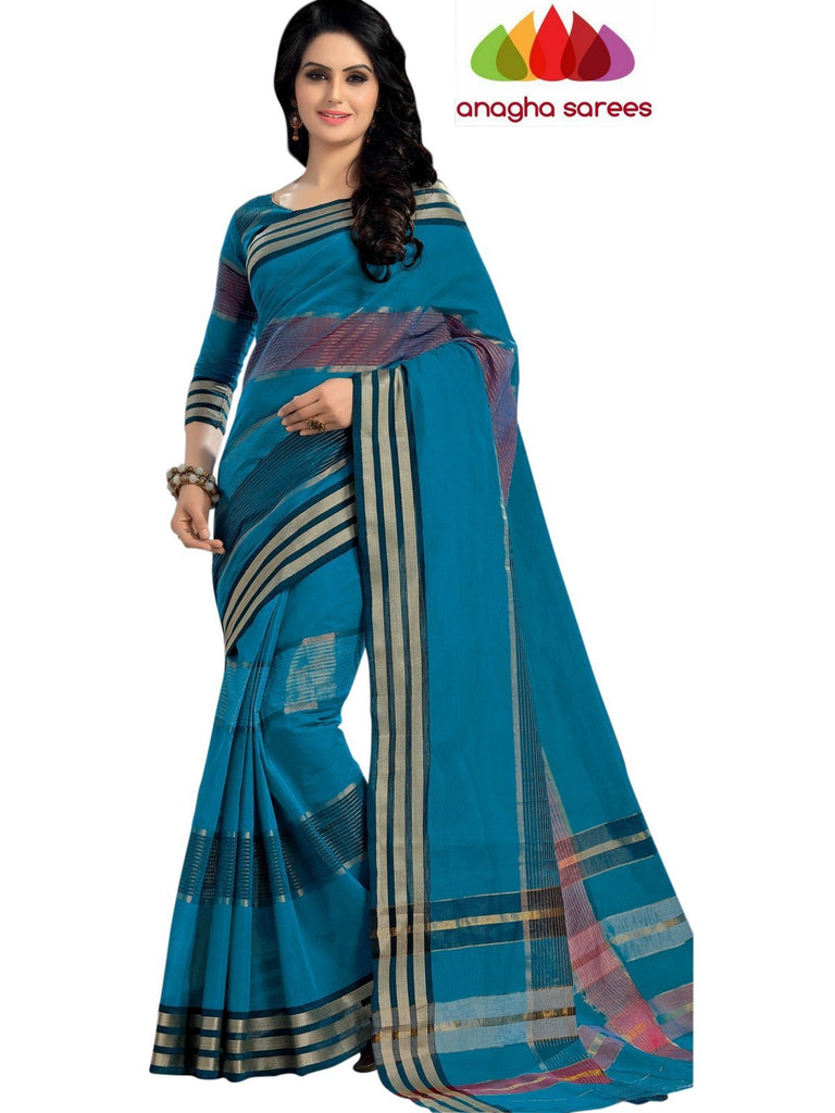 Designer Pure Cotton Saree - Blue ANA_446 Anagha Sarees