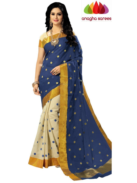 Designer Pure Cotton Saree - Blue ANA_617 - Anagha Sarees