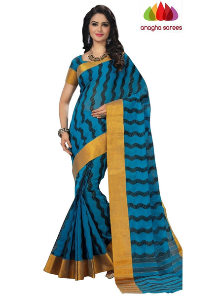 Designer Pure Cotton Saree - Blue  ANA_971