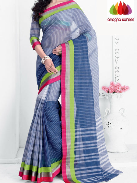 Designer Pure Cotton Saree - Blue : ANA_A44 - Anagha Sarees