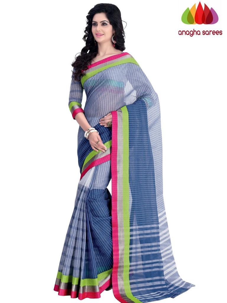 Designer Pure Cotton Saree - Blue : ANA_A44 Anagha Sarees