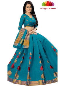 Designer Pure Cotton Saree - Blue  ANA_C88