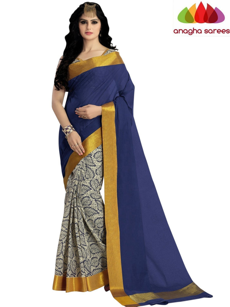 Designer Pure Cotton Saree - Dark Blue  ANA_563 Anagha Sarees