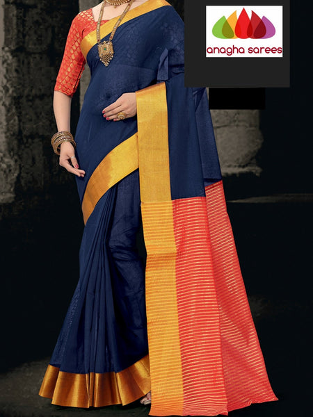 Designer Pure Cotton Saree - Dark Blue ANA_799 - Anagha Sarees
