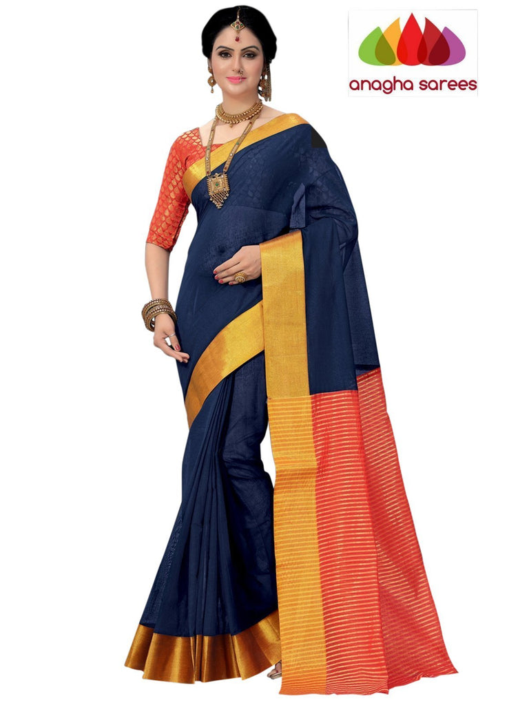 Designer Pure Cotton Saree - Dark Blue ANA_799 Anagha Sarees