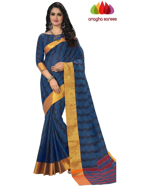 Designer Pure Cotton Saree - Dark Blue  ANA_970