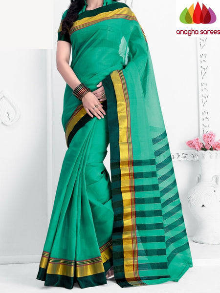 Designer Pure Cotton Saree - Green : ANA_A49 - Anagha Sarees