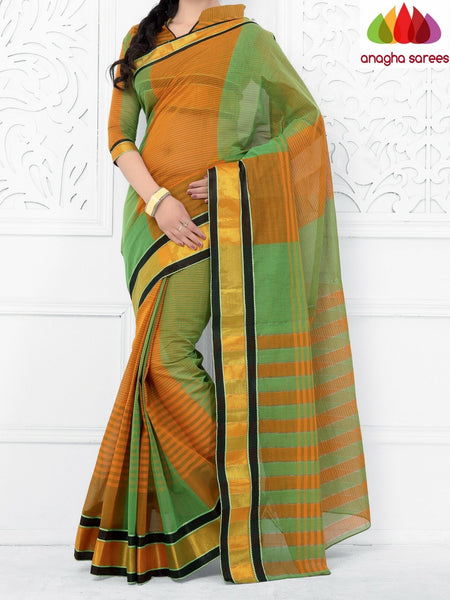 Designer Pure Cotton Saree - Green/Mustard ANA_953 - Anagha Sarees