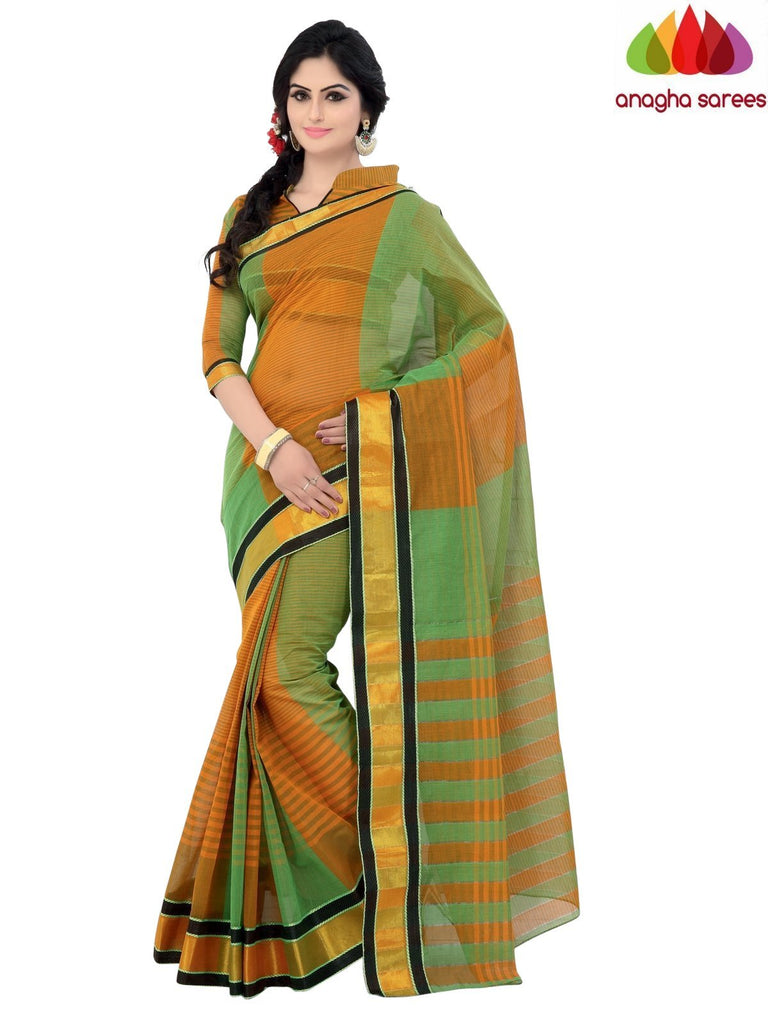 Designer Pure Cotton Saree - Green/Mustard ANA_953 Anagha Sarees