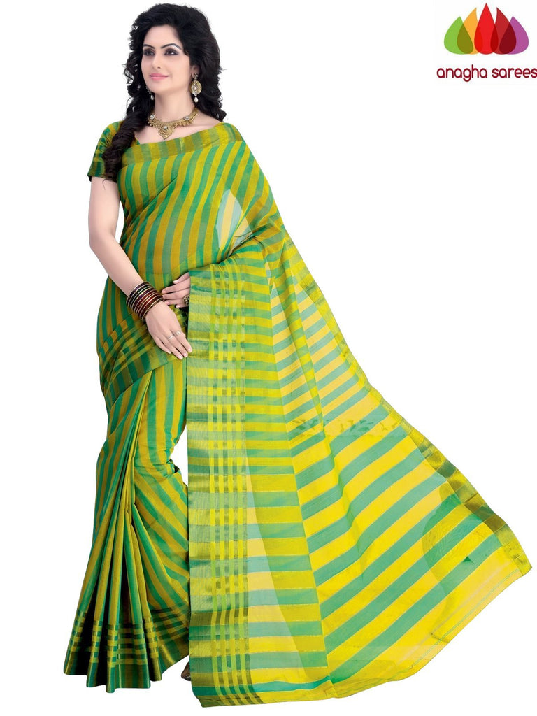 Designer Pure Cotton Saree - Green/Yellow : ANA_A48 Anagha Sarees