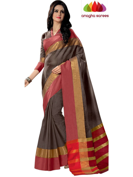 Designer Pure Cotton Saree - Grey  ANA_776 - Anagha Sarees