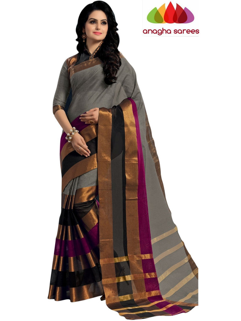 Designer Pure Cotton Saree - Grey/Multicolor  ANA_447 Anagha Sarees